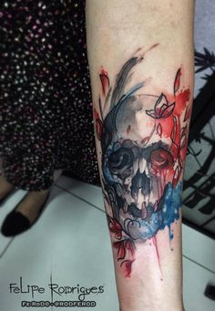Watercolor tattoo Felipe Rodrigues caveira