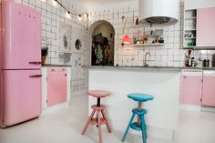 The pink SMEG fridge, and everything else about this kitchen!