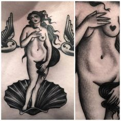 Traditional style 'The Birth of Venus' inspired tattoo on the chest.