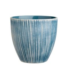 White/blue. Stoneware plant pot with a texture-patterned finish. Height 5 1/2 in., diameter at top 5 3/4 in.