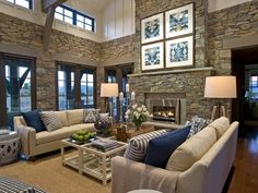 HGTV Dream Home Great Room. I like the rocky walls and the use of blue.