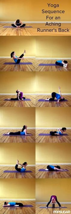 Yoga Sequence For an Aching Runners Back - If you run its not unusual to experience back pain at some point. This pain can be caused by tense upper back muscles and shoulders weak abs tight hamstrings and hips or a combination. Youll be amazed at how Yoga Fitness, Fitness Workouts, Sport Fitness, Fitness Tips, Health Fitness, Yoga Workouts, Fitness Weightloss, Workout Gear, Vinyasa Yoga