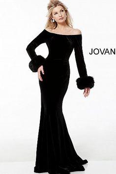 c407605680 Black Velvet Off the Shoulder Long Sleeve Evening Dress 61706