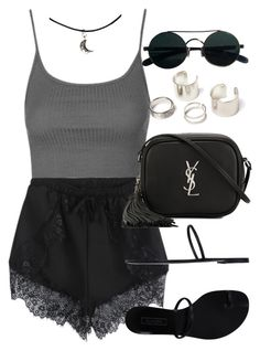 """Style  #10952"" by vany-alvarado ❤ liked on Polyvore featuring Topshop, Yves Saint Laurent and Casadei"
