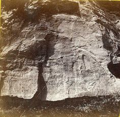 Alexander Gardner Inscription Rock at Indian Cave on Mulberry Creek, Kansas. 11 miles north east of Fort Harker and 494 miles west of St. Louis, Mo. 1867