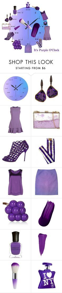 """""""It's Purple O'Clock"""" by michelle858 ❤ liked on Polyvore featuring Plukka, Boutique Moschino, Skinnydip, Sergio Rossi, House of Holland, Rebel Queen, Jil Sander, Topshop, Deborah Lippmann and Bond No. 9"""