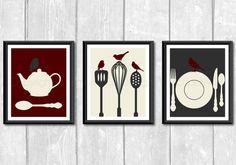 Modern Birds on Kitchen Utensils Tea Pot Art Print Set  by LemonPlumDesigns, $27.00