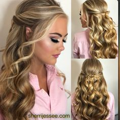 Beautiful Half-up Prom or Pageant Hair – Hair Styles Curly Hair Styles, Medium Hair Styles, Hair Styles For Prom, Hair Down Styles, Formal Hairstyles, Wedding Hairstyles, Pageant Hairstyles, Prom Hairstyles For Long Hair Half Up, Funky Hairstyles
