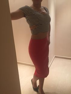 Red high waist skirt with strip top...