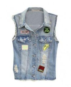 Labelled Denim Vest with Frayed Cuffs