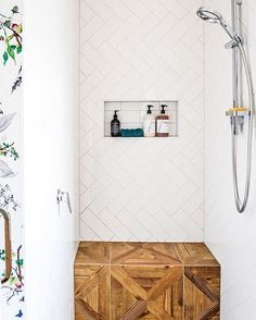Bench, herringbone tile // modern bathroom