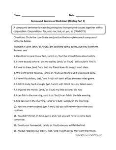 Identifying Compound Sentences Worksheets | Englishlinx.com Board | Pinterest | Sentences Worksheets and Student teaching
