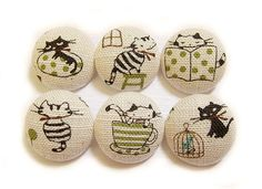6 Large Fabric Buttons Set  Busy Cats by heydayhandmade on Etsy