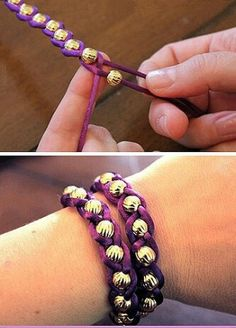 Yarn and bead bracelets