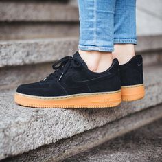 NIKE AIR FORCE 1 LOW Black/Black/Gum Light Brown - Google Search