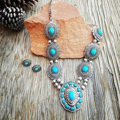 Faux Gem Accent Floral Etched Link Metal Necklace Set Approx Length:16 CA Lead and Nickel Compliant Product Turquoise Concho Necklace