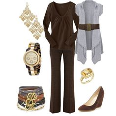 Work Casual brown and grey