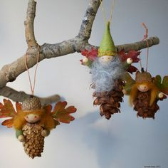 "PINECONE FAIRY ORNAMENT TUTORIAL: Found! Perfect! So Waldorf! need: acorn caps (drill 2 small holes 3/16"" apart), pairs of small autumn leaves strengthened by a dip in wax or painted with craft glue, small conifer cones- with stem or short toothpick piece to hold head, 3 wooden beads: head, hands, stiff/waxed twine, colored wool, pipe cleaners, small felt heart to hold 'wings',"