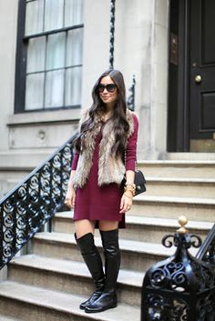 Change it up with a black faux fur vest and black riding boots for work.
