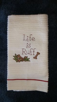 Sweet Little Embroidered Kitchen Towel by Fiddlestixprimitives