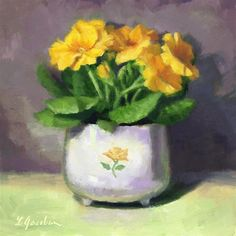 """Daily Paintworks - """"Primroses in Yellow"""" by Linda Jacobus"""