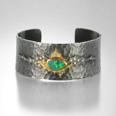Wide Opal Cuff by Annie Fensterstock @QUADRUM