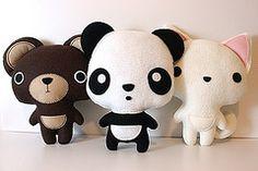 Hello!! (loopzart) Tags: bear animal cat toy soft panda handmade pussy felt plush etsy plushtoys loopzart