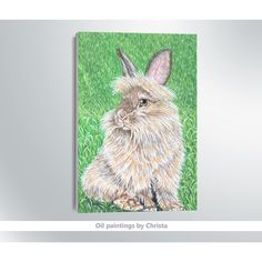 Bunny painting, Bunny wall decor, Rabbit oil painting, Grass, Animal... (€85) via Polyvore featuring home, home decor, wall art, portrait oil painting, animal paintings, oil painting, bunny home decor and van gogh oil painting