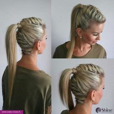 Hohe haar hohe pin up zopf - High hair high pin up braid - Dance Hairstyles, Side Hairstyles, Braided Hairstyles, Hairstyles 2018, Hairstyles Videos, Woman Hairstyles, Fashion Hairstyles, Creative Hairstyles, Hairstyle Ideas