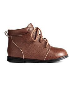 Check this out! BABY EXCLUSIVE/PREMIUM QUALITY. Boots in grained leather with an ankle-high leg section with a padded edge. Lacing at front and a loop at back. Leather lining, leather insoles, and fluted rubber soles (Sizes 1 - 2 with soft soles). Supplied in a box. - Visit hm.com to see more.