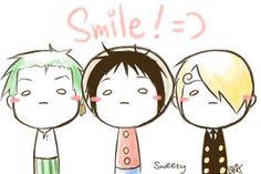 Smile =) - Monkey D. Luffy, Roronoa Zoro, and Sanji One piece One Piece Gif, One Piece Anime, Sanji One Piece, One Piece Funny, One Piece Drawing, One Piece Comic, One Piece Fanart, The Pirates, Kawaii