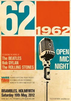 THIS type of print would be awesome to frame for the office?  1962 Open Mic Night Poster
