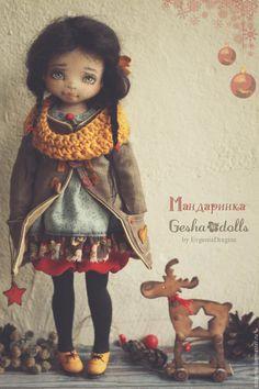 Купить Мандаринка - ярко-красный, Новый Год, мандаринка, голубой, оранжевый, черный, коллекционная кукла