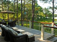 HGTV Dream Home 2013: Deck has sustainable mahogany wood railing, caps and powder-coated aluminum rail system.