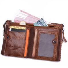Men Genuine Leather Cowhide Men Vintage Short Wallet Coin Holder - Banggood Mobile