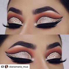 Festive Cut Crease Eyes Makeup Your eye makeup is. Dramatic Eye Makeup, Eye Makeup Steps, Makeup Eye Looks, Beautiful Eye Makeup, Colorful Eye Makeup, Eye Makeup Art, Black Makeup Looks, Fall Eye Makeup, Hair Makeup