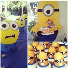 Minion party ideas. Balloon centerpieces, Twinkie cupcakes, construction paper characters