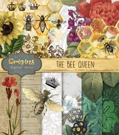 Queen Bee Digital Scrapbook Kit by Origins Digital Curio on @creativemarket