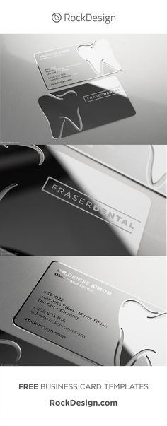 Our stainless steel cards are both high-end as well as have an industrial flair. This gleaming option comes in three possible finishings; original, mirror, and brushed. Original finishing has the appears of a standard interpretation of stainless steel. Mirror finishing is polished to a brilliant, reflective shine. Our Brushed finishing is reminiscent of paint strokes. Get your business card today at www.RockDesign.com and our professional designers will take care of the rest. Business Pens, Business Cards Online, Metal Business Cards, Premium Business Cards, Luxury Business Cards, Business Card Mock Up, Business Card Design, Websites Like Etsy, Free Business Card Templates