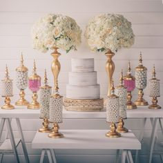 Elegant and rustic wedding candy table styled with Amalfi Decor candy jars, vases, and cake stands Wedding Candy Table, Wedding Desserts, Wedding Reception Decorations, Wedding Cakes, Wedding Ideas, Elegant Wedding, Rustic Wedding, Candy Table Decorations, Flower Ball