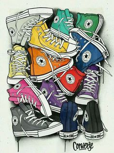 CONVERSE - Juan Morant (via Behance). Obvious influence from pop art, however wouldn't class this piece as a work of pop art - more modern art. The use of bright colours and the way the shoes are laid out make them look like they are joined making the ima Retro, Illustration Mode, Inspiration Art, Arte Pop, Shoe Art, Art Plastique, All Star, Art Drawings, Street Art