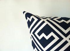 Navy Pillow Covers - Set of Two, Navy Blue Pillows, 20 x 20, Modern Geometric Pillows Cushion Covers Nautical PIllows Beach Decor