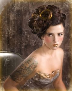 pin curl updo. Where do I get gold lipstick??