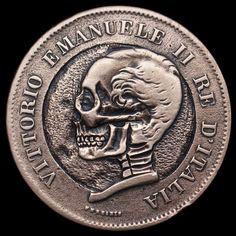 SETH BASISTA HOBO COIN - SKULL - 1861 ITALIAN 5 CENTESIMI COIN Skeleton Photo, Hobo Nickel, Skull Hand, Coin Art, Old Money, Skull And Bones, New Hobbies, Hand Carved, Coins