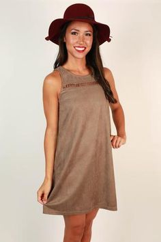 Poised and Pretty Faux Suede Dress