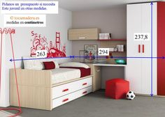 Un dormitorio con cama desplazable y armario con zapatero frontal. - Dormitorios Juveniles Modernos