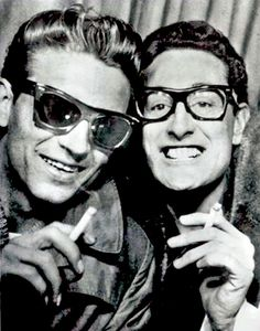 """Buddy Holly and Waylon Jennings. """"Buddy was the first person to have faith in my music. He encouraged me in my music and my writing. He was my friend. If anything I've ever done is remembered, part of it is because of Buddy Holly. Rock And Roll, Country Singers, Country Music, Outlaw Country, I Love Music, My Music, Music Concerts, Jimi Hendricks, Photo Humour"""