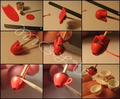 Tutorial for miniature cups. Although not written in English, the steps are easy to understand because of the really great photographs of each step.