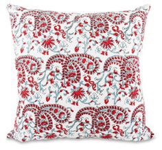 Block Print Paisley Pillow- Red