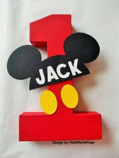 Mickey Mouse centerpiece birthday number.